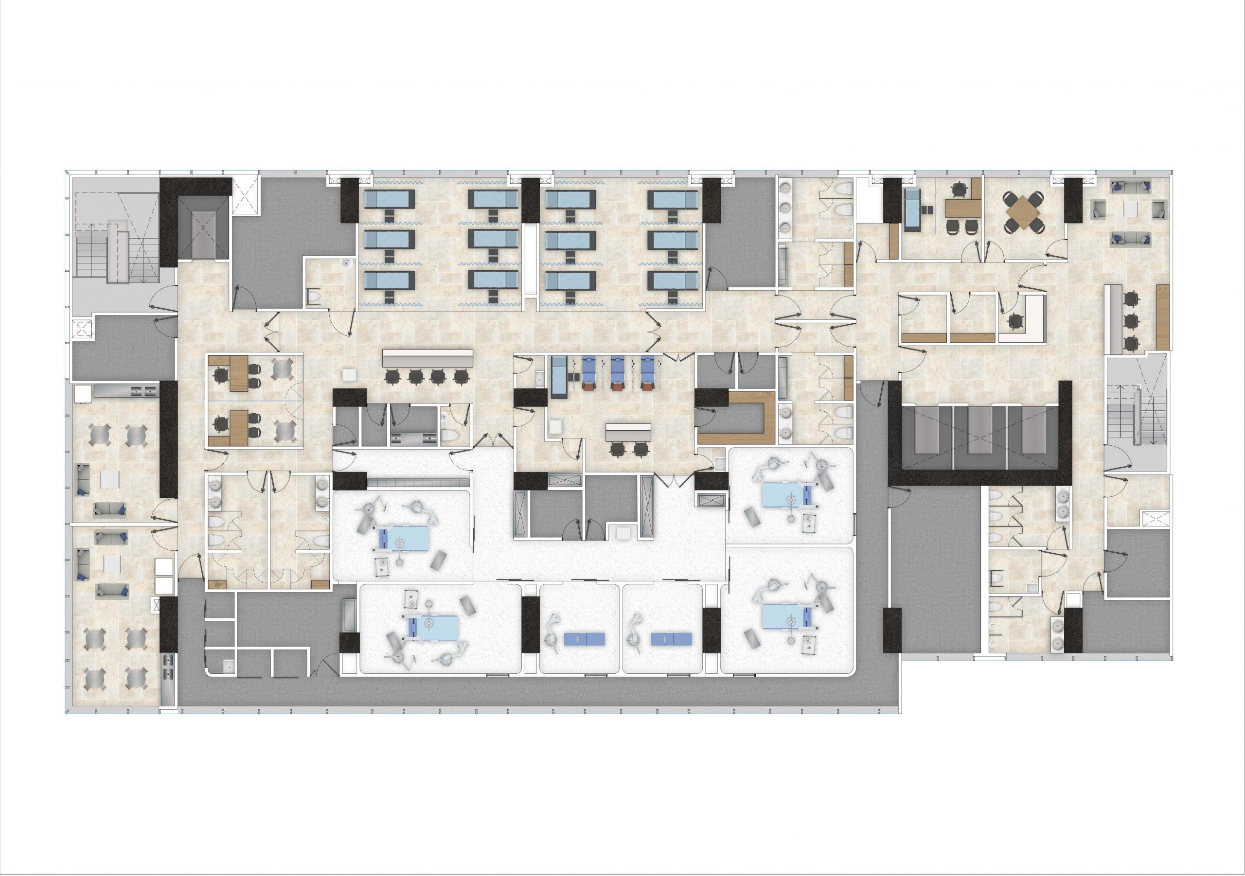 PLANTA ARQUITECTÓNICA PISO 5 Salas de procedimientos y salas de recuperación-min